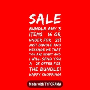 SALE!!!  3 for $25 ( on any listing $16 or under)